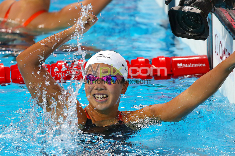 Picture by Alex Whitehead/SWpix.com - 07/08/2015 - Swimming - 16th FINA World Swimming Championships 2015 - Kazan Arena Stadium, Kazan, Russia - Japan's Kanako Watanabe wins Gold in the Women's 200m Breaststroke Final.