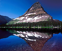 Morning light reflects off of Bearhat Mountain on to Hidden Lake.<br />