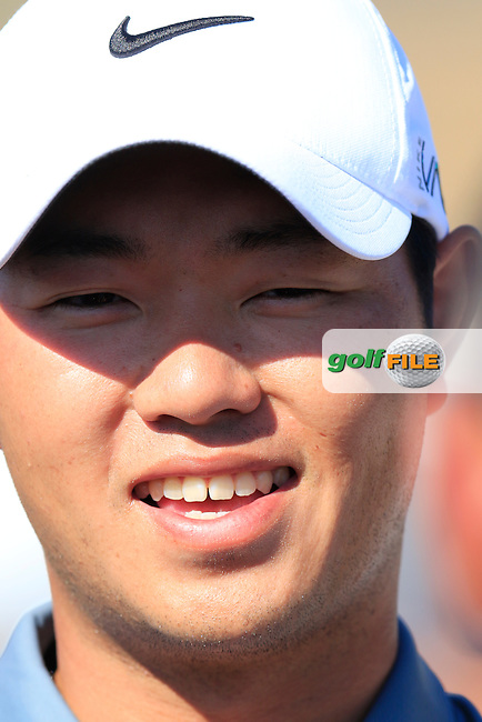 Shunsuke Sonoda (JPN) talks to the Japenese media during Wednesday's Practice Day of the 2015 U.S. Open 115th National Championship held at Chambers Bay, Seattle, Washington, USA. 6/18/2015.<br /> Picture: Golffile | Eoin Clarke<br /> <br /> <br /> <br /> <br /> All photo usage must carry mandatory copyright credit (&copy; Golffile | Eoin Clarke)