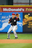 Richmond Flying Squirrels second baseman Kelby Tomlinson (1) fields a ground ball during a game against the Erie Seawolves on May 19, 2015 at Jerry Uht Park in Erie, Pennsylvania.  Richmond defeated Erie 8-5.  (Mike Janes/Four Seam Images)