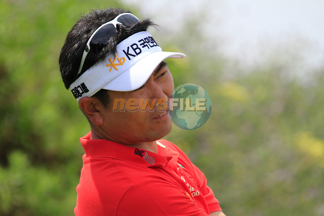 Y.E. Yang (KOR) teeing off on the 1st tee during Day 1 of the Volvo World Match Play Championship in Finca Cortesin, Casares, Spain, 19th May 2011. (Photo Eoin Clarke/Golffile 2011)
