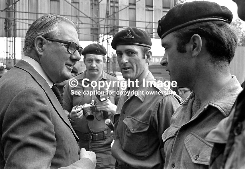 UK Prime Minister James Callaghan with British Army personnel on a visit to Belfast, N Ireland. 197607050399c..Copyright Image from Victor Patterson, 54 Dorchester Park, Belfast, UK, BT9 6RJ..Tel: +44 28 9066 1296.Mob: +44 7802 353836.Voicemail +44 20 8816 7153.Skype: victorpattersonbelfast.Email: victorpatterson@me.com.Email: victorpatterson@ireland.com (back-up)..IMPORTANT: If you wish to use this image or any other of my images please go to www.victorpatterson.com and click on the Terms & Conditions. Then contact me by email or phone with the reference number(s) of the image(s) concerned.