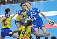 Handball Champions League Frauen 2013/14 - Handballclub Leipzig (HCL) gegen Metz (FRA) am 10.11.2013 in Leipzig (Sachsen). <br /> IM BILD: Susann Müller / Mueller (HCL) am Ball <br /> Foto: Christian Nitsche / aif