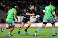 Dan Biggar of Northampton Saints passes the ball. Gallagher Premiership match, between Northampton Saints and Harlequins on September 7, 2018 at Franklin's Gardens in Northampton, England. Photo by: Patrick Khachfe / JMP