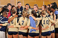 11 September 2011:  FIU Volleyball Head Coach Danijela Tomic speaks with players after the FIU Golden Panthers defeated the Florida A&M University Rattlers, 3-0 (25-10, 25-23, 26-24), at U.S Century Bank Arena in Miami, Florida.