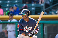 Trayvon Robinson (41) of the Reno Aces at bat against the Salt Lake Bees in Pacific Coast League action at Smith's Ballpark on May 10, 2015 in Salt Lake City, Utah.  Reno defeated Salt Lake 11-2 in Game Two of the double-header. (Stephen Smith/Four Seam Images)
