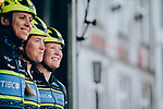 Team Tibco-Silicon Valley Bank at sign on before the start of  La Fl&egrave;che Wallonne Femmes 2019, running 118.5km from Huy to Huy, Belgium. 24th April 2019<br /> Picture: ASO/Thomas Maheux | Cyclefile<br /> All photos usage must carry mandatory copyright credit (&copy; Cyclefile | ASO/Thomas Maheux)