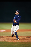 Mobile BayBears relief pitcher Alex Klonowski (7) delivers a pitch during a game against the Pensacola Blue Wahoos on April 25, 2017 at Hank Aaron Stadium in Mobile, Alabama.  Mobile defeated Pensacola 3-0.  (Mike Janes/Four Seam Images)