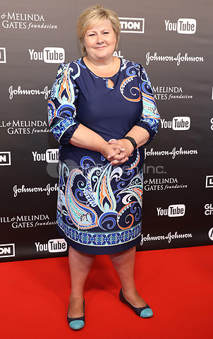 Norwegian Prime Minister Erna Solberg arrives to the first Global Citizen Festival Concert in Hamburg, Germany, 06 July 2017. The G20 Summit of the heads of government and state takes place on 7 and 8 July 2017 in Hamburg. Photo: Georg Wendt/dpa /MediaPunch ***FOR USA ONLY***