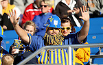 BROOKINGS, SD - NOVEMBER 12:  A fan celebrates a first down for South Dakota State University in their game against the University of South Dakota in the first half at the Dana J. Dykhouse Stadium November 12, 2016 in Brookings, South Dakota. (Photo by Dave Eggen/Inertia)