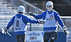 Josh Byrne #22 of Hofstra University, right, gets congratulated by teammate Jimmy Yanes #8 after scoring a goal in a scrimmage against Hobart College at Hofstra University on Saturday, Feb. 4, 2017.