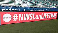 Cary, North Carolina  - Saturday August 05, 2017: Lifetime signboard prior to a regular season National Women's Soccer League (NWSL) match between the North Carolina Courage and the Seattle Reign FC at Sahlen's Stadium at WakeMed Soccer Park. The Courage won the game 1-0.