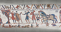 Bayeux Tapestry scene 10:  William sends messengers to Guy de Ponthieu ordering Harolds release.