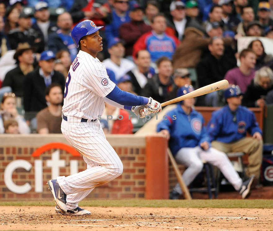 STARLIN CASTRO, of the Chicago Cubs , in actions during the Cubs game against the Pittsburgh Pirates at Wrigley FIeld on April 3, 2011.  The Pirates won the game beating the Cubs 5-4.