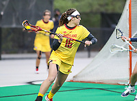 College Park, MD - April 19, 2018: Maryland Terrapins Kali Hartshorn (16) makes a pass during game between Penn St. and Maryland at  Field Hockey and Lacrosse Complex in College Park, MD.  (Photo by Elliott Brown/Media Images International)