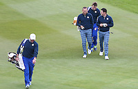 Sergio and Rory during the first practice day ahead of the 2014 Ryder Cup at Gleneagles, Perthshire, Scotland 26th to 28th September 2014. Picture David Lloyd / www.golffile.ie.
