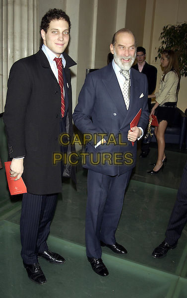 LORD FREDDIE WINDSOR & FATHER PRINCE MICHAEL OF KENT.Quinessentially magazine launch party at Victoria House.24 February 2004.full length, full-length.www.capitalpictures.com.sales@capitalpictures.com.©Capital Pictures