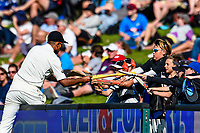Ish Sodhi of the Black Caps with fans during Day 3 of the Second International Cricket Test match, New Zealand V England, Hagley Oval, Christchurch, New Zealand, 1st April 2018.Copyright photo: John Davidson / www.photosport.nz