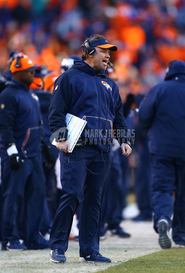 Jan 17, 2016; Denver, CO, USA; Denver Broncos special teams coordinator Joe DeCamillis against the Pittsburgh Steelers during the AFC Divisional round playoff game at Sports Authority Field at Mile High. Mandatory Credit: Mark J. Rebilas-USA TODAY Sports