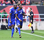 4th November 2017, Ashton Gate, Bristol, England; EFL Championship football, Bristol City versus Cardiff City; Omar Bogle of Cardiff City celebrates with Sol Bamba of Cardiff City after scoring Cardiff City's first goal