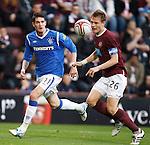 Kyle Lafferty watches the ball hit Marius Zaliukas on the face