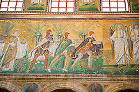 Byzantine Roman mosaics , c. 561 AD, in the Basilica of Sant'Apollinare Nuovo, depicting  the Three Magi, moving from the city of Classe towards the group of the Madonna and Child surrounded by four angels. Ravenna Italy, A UNESCO World Heritage Site.