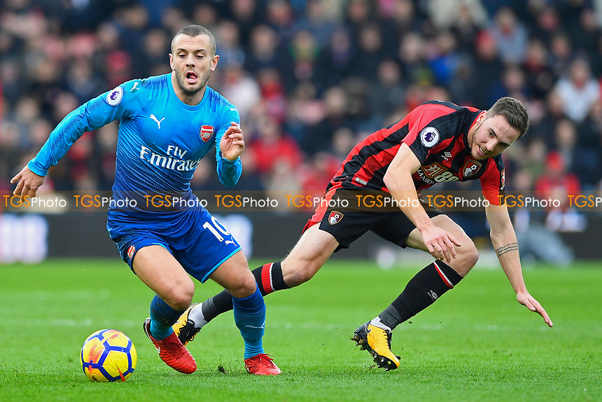 Jack Wilshere of Arsenal steals the ball from Dan Gosling of AFC Bournemouth during AFC Bournemouth vs Arsenal, Premier League Football at the Vitality Stadium on 14th January 2018