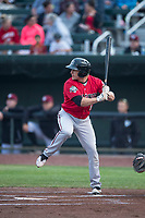 Billings Mustangs center fielder Drew Mount (8) at bat during a Pioneer League game against the Idaho Falls Chukars at Melaleuca Field on August 22, 2018 in Idaho Falls, Idaho. The Idaho Falls Chukars defeated the Billings Mustangs by a score of 5-3. (Zachary Lucy/Four Seam Images)