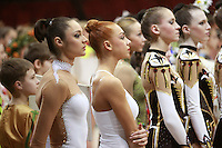 "(L-R)  Anna Bessonova and Natalya Godunko of Ukraine lineup during opening ceremony at 2008 World Cup Kiev, ""Deriugina Cup"" in Kiev, Ukraine on March 22, 2008."