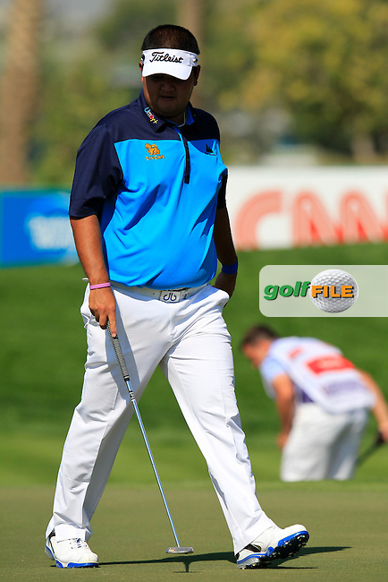 Prom MEESAWAT (THA) on the 10th green during Thursday's Round 1 of the 2015 Omega Dubai Desert Classic held at the Emirates Golf Club, Dubai, UAE.: Picture Eoin Clarke, www.golffile.ie: 1/29/2015