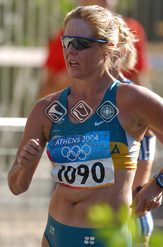 Natalie Saville (AUS)<br /> Athletics - Women's 20km Walk<br /> Summer Olympics - Athens Greece 2004<br /> Day 10, 23rd August 2004.<br /> &copy; Sport the library/Ryan Gormly