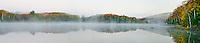 Council Lake reflects a foggy autumn shore, Hiawatha National Forest, Alger County, Michigan