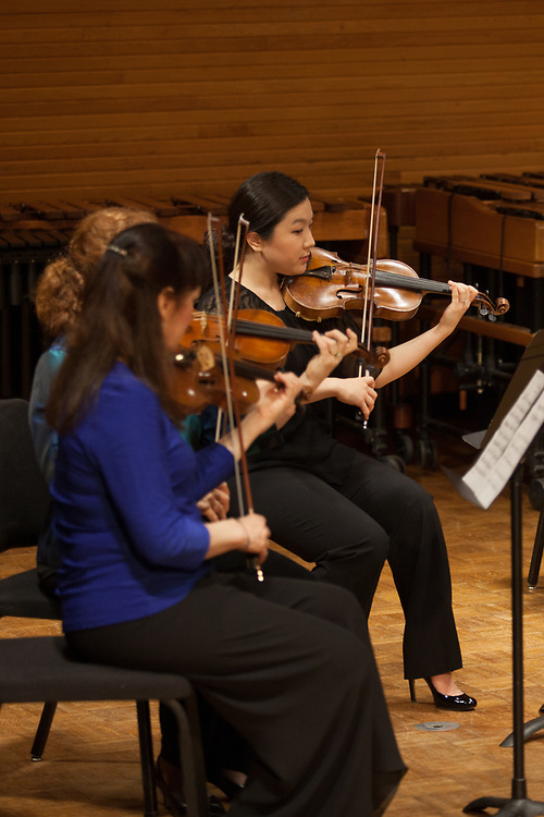 Dawn Wohn, Assistant Professor of Violin and Viola, performs with an ensemble of faculty and alumni in Glidden Hall during the Faculty and Alumni Centennial Chamber Music Recital on Friday, April 21, 2017. © Ohio University / Photo by Kaitlin Owens