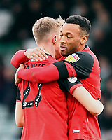 Wes Thomas of Grimsby Townis congratulated on scoring the first goal by Luke Hendrie of Grimsby Town during Yeovil Town vs Grimsby Town, Sky Bet EFL League 2 Football at Huish Park on 9th February 2019