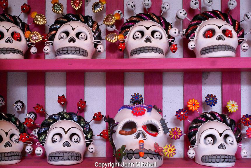 Day of the Dead skulls or calaveras from Oaxaca for sale in San Miguel de Allende, Mexico