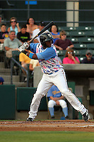 Myrtle Beach Pelicans shortstop Hanser Alberto #5 at bat during a game against the Carolina Mudcats at Ticketreturn.com Field at Pelicans Park on June 30, 2012 in Myrtle Beach, South Carolina. For this game the Pelicans wore special cancer awareness ribbon jerseys that were later auctioned off with the proceeds going to cancer charites. Myrtle Beach defeated Carolina by the score of 5-4 in 11 innings. (Robert Gurganus/Four Seam Images)