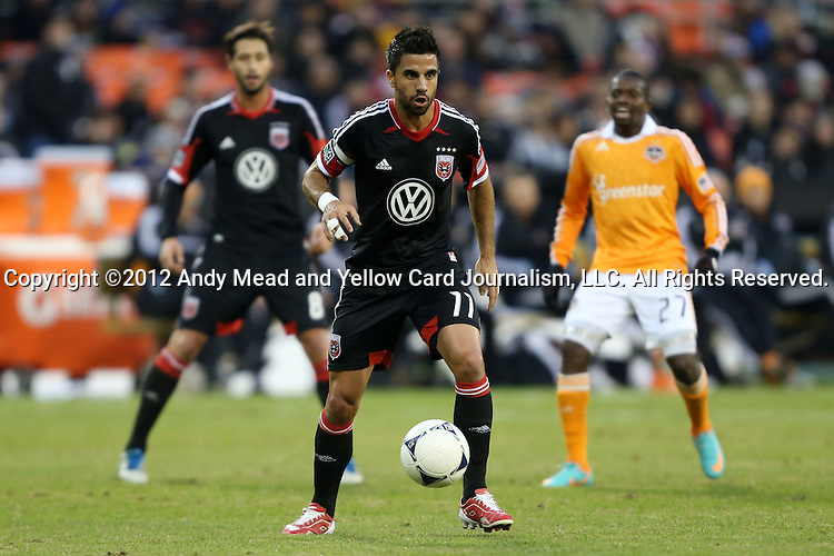 18 November 2012: DC's Marcelo Saragosa (BRA) (11). DC United played the Houston Dynamo at RFK Stadium in Washington, DC in the second leg of their 2012 MLS Cup Playoffs Eastern Conference Final series. The game ended in a 1-1 tie, Houston won the series 4-2 on aggregate goals.