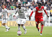 Calcio, Serie A: Juventus vs Carpi. Torino, Juventus Stadium, 1 maggio 2016.<br /> Juventus' Kwadwo Asamoah, left, is chased by Carpi's Isaac Cofie during the Italian Serie A football match between Juventus and Carpi at Turin's Juventus Stadium, 1 May 2016.<br /> UPDATE IMAGES PRESS/Isabella Bonotto
