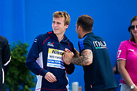 Picture by Rogan Thomson/SWpix.com - 30/07/2017 - High Diving - Fina World Championships 2017 -  Batthyany Ter, Budapest, Hungary - Owen Weymouth of Great Britain is introduced during the Final of the Men's High Dive competition.
