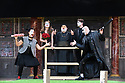 "London, UK. 26.04.17 Shakespeare's Globe presents ROMEO AND JULIET, by WIlliam Shakespeare, directed by Daniel Kramer, as part of Emma Rice's ""Summer of Love"" season. Picture shows: Golda Rosheuvel (Mercutio), Kirsty Bushell (Juliet), Harish Patel (Friar Lawrence), Edwrd Hogg (Romeo), Ricky Champ (Tybalt). © Jane Hobson."