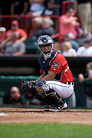 Erie SeaWolves catcher Tim Remes (39) looks to the bench during a game against the Akron RubberDucks on August 27, 2017 at UPMC Park in Erie, Pennsylvania.  Akron defeated Erie 6-4.  (Mike Janes/Four Seam Images)
