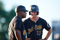 West Virginia Black Bears center fielder Daniel Amaral (27) talks with manager Kieran Mattison (22) during a game against the Batavia Muckdogs on July 3, 2018 at Dwyer Stadium in Batavia, New York.  Batavia defeated West Virginia 5-4.  (Mike Janes/Four Seam Images)