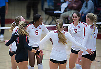 STANFORD, CA - October 12, 2018: Tami Alade, Meghan McClure, Jenna Gray, Audriana Fitzmorris, Kathryn Plummer, Morgan Hentz at Maples Pavilion. No. 2 Stanford Cardinal swept No. 21 Washington State Cougars, 25-15, 30-28, 25-12.