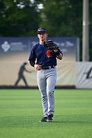 Connecticut Tigers second baseman Corey Joyce (8) during warmups before a NY-Penn League game against the Auburn Doubledays on July 12, 2019 at Falcon Park in Auburn, New York.  Auburn defeated Connecticut 7-5.  (Mike Janes/Four Seam Images)