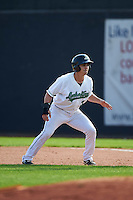 Clinton LumberKings pinch runner Brock Hebert (3) leads off first during a game against the Great Lakes Loons on August 16, 2015 at Ashford University Field in Clinton, Iowa.  Great Lakes defeated Clinton 3-2.  (Mike Janes/Four Seam Images)