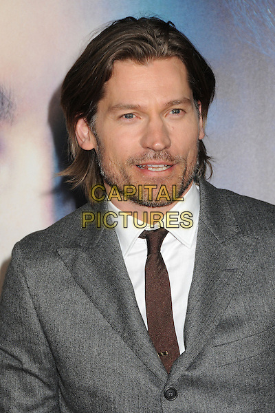 "Nikolaj Coster-Waldau.""Game Of Thrones"" 3rd Season Los Angeles Premiere held at the TCL Chinese Theatre, Hollywood, California, USA..March 18th, 2013.headshot portrait grey gray suit white shirt brown tie stubble beard facial hair .CAP/ADM/BP.©Byron Purvis/AdMedia/Capital Pictures."