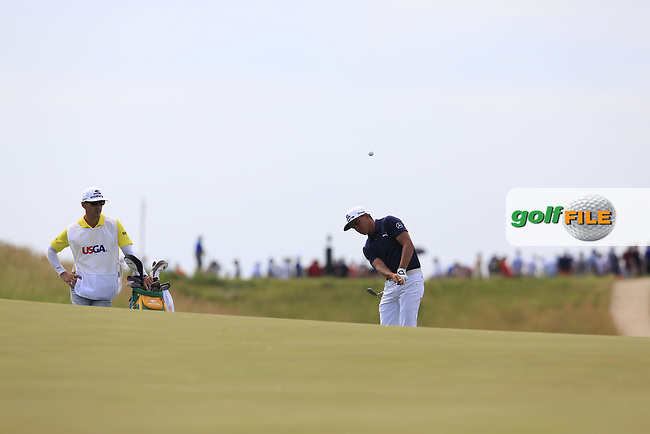 Rickie Fowler (USA) chips onto the 6th green during Friday's Round 2 of the 117th U.S. Open Championship 2017 held at Erin Hills, Erin, Wisconsin, USA. 16th June 2017.<br /> Picture: Eoin Clarke | Golffile<br /> <br /> <br /> All photos usage must carry mandatory copyright credit (&copy; Golffile | Eoin Clarke)
