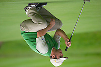 Straffin Co Kildare Ireland. K Club Ruder Cup...European Ryder Cup team member Paul Casey lines up his putt on the 16th green on the opening fourball session on the first day of the 2006 Ryder Cup, at the K Club in Straffan, Co Kildare, in the Republic of Ireland, 22 September 2006..Photo: Eoin Clarke/ Newsfile..