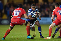 Semesa Rokoduguni of Bath Rugby in possession. Gallagher Premiership match, between Bath Rugby and Sale Sharks on December 2, 2018 at the Recreation Ground in Bath, England. Photo by: Patrick Khachfe / Onside Images