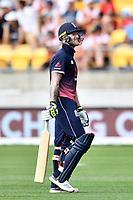 England batsman Ben Stokes walks back dejected after getting out during the Third ODI game between Black Caps v England, Westpac Stadium, Wellington, Saturday 03rd March 2018. Copyright Photo: Raghavan Venugopal / © www.Photosport.nz 2018
